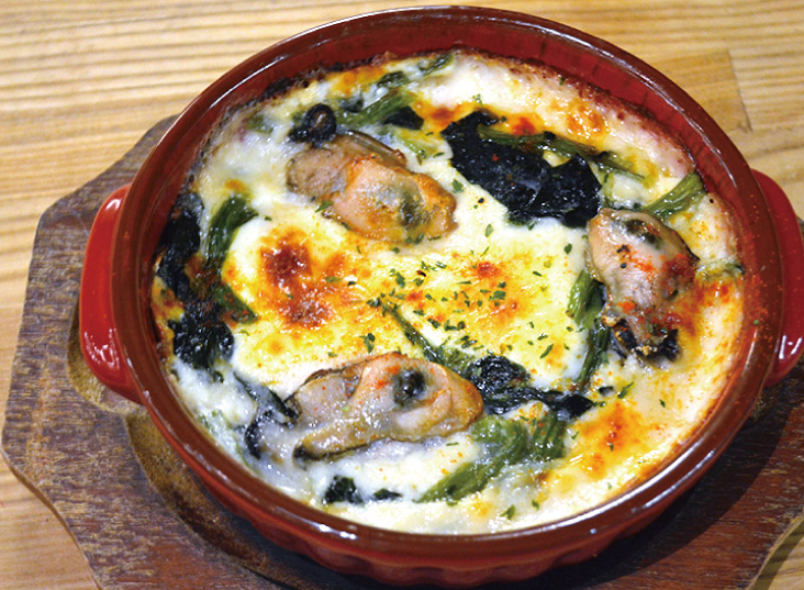 牡蠣とほうれん草のチーズドリア